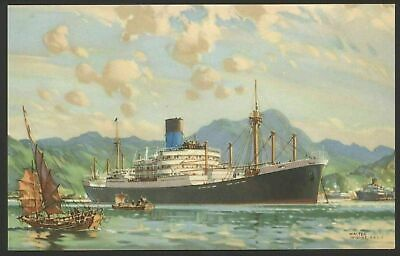 Vintage Postcard The Blue Funnel Line Ship Vessel at Anchor Holt /& Co Liverpool
