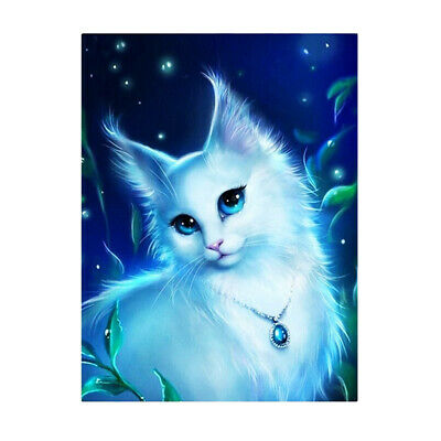 White Cat DIY 5D Diamond Embroidery Painting Paint By Number Kits for Kids