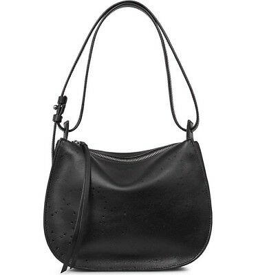 63f43deb7fa NEW All Saints Echo Mini Hobo Leather Shoulder Bag Black Star Embossed Sold  Out
