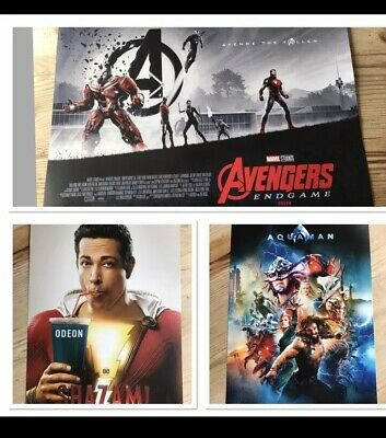 Odeon A3 3X Poster Bundle Exclusives Super Hero's - Shazam - Aquaman - Avengers
