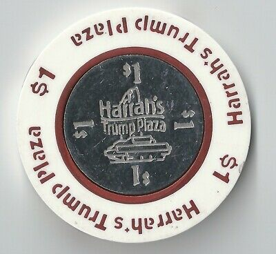 $1 Atlantic City 1St Edt Harrahs Trump Plaza Casino Chip Coin Inlay Dark Red