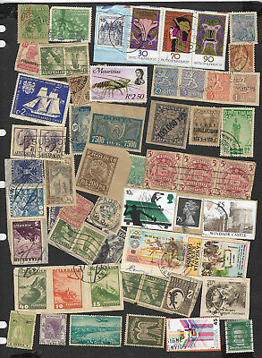 (111cents) World Wide Collection of used Stamps on Piece x 200+