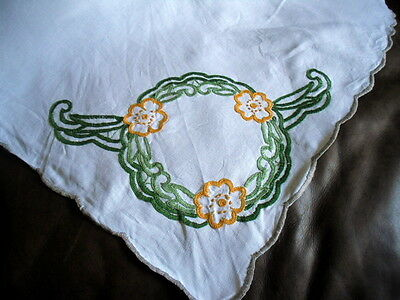 VIintage White Small Tablecloth Hand Embroidered Flowers Scalloped Edge