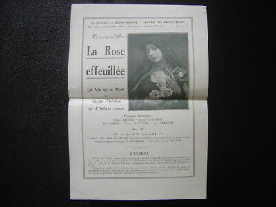 Programme cinema LA ROSE EFFEUILLEE VIE MORT SAINTE THERESE Vaudry Lequesne 1926
