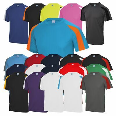AWDis Mens Contrast Cool T-Shirt Polyester Sports Gym Football Running Active T