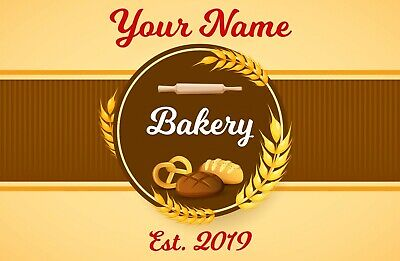 Personalised Bakery Shop Name & Est. Door Metal Aluminium Sign Plaque 23x15cm