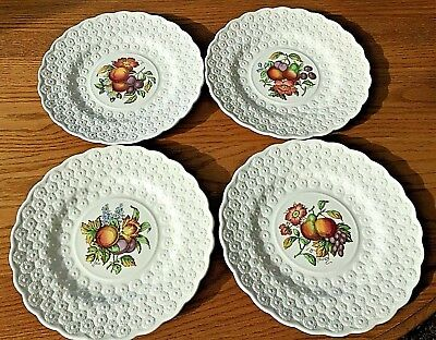 4-Vintage Copeland Spode ALDEN Luncheon Plates Fruit Flowers Daisy Border China