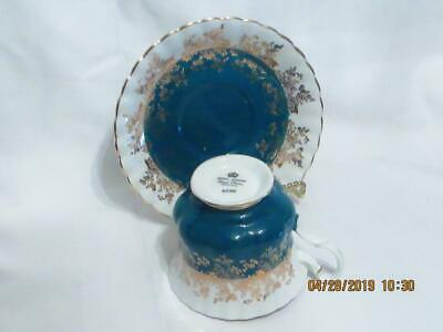 Royal Albert Footed Cup & Saucer Regal Series Turquoise W/ Gold Bone China