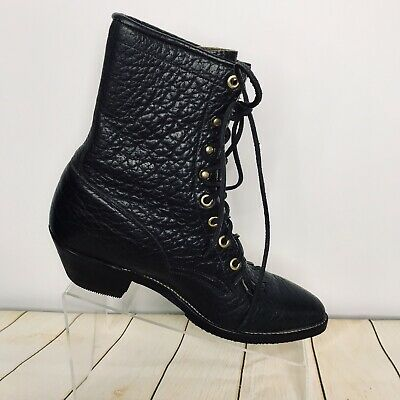 17a53b4ddd60b VINTAGE JUSTIN ROPER Boots Black Kiltie Worker Pebble Leather Lace Up  Womens 8