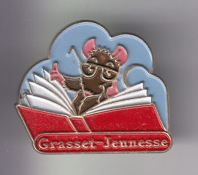 Rare Pins Pin's ..  Animal Souris Mouse Livre Book Edition Grasset Jeunesse ~Dx