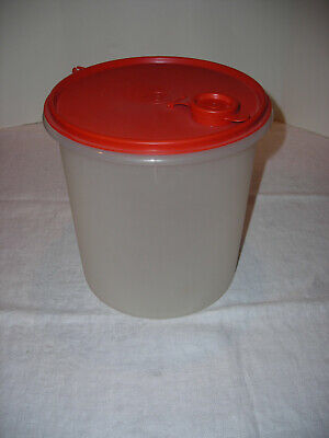 Tupperware Jumbo Canister #254 sheer with red Pour-All-Spout #565 - NOS