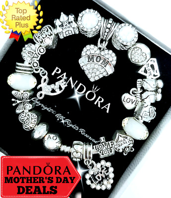 Authentic Pandora Bracelet Silver Purple MOM Mother Day with European Charms NIB