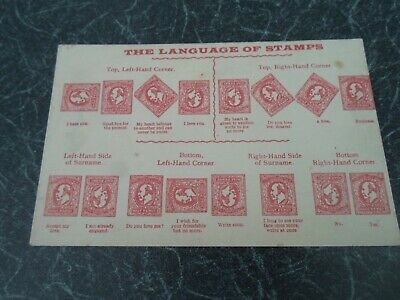 The Language of Stamps, Vintage Postcard, Love+Hate+Kiss+Business+More  §E791