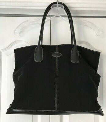 a507f54bb4 Auth. TOD'S Black Leather / Nylon Tote/Shoulder bag Shopper Womens Large