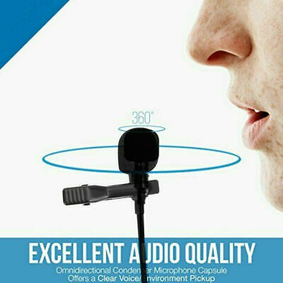 Clip-on Lapel External Lavalier Microphone for Cell Phone PC Laptop Pad Black BS