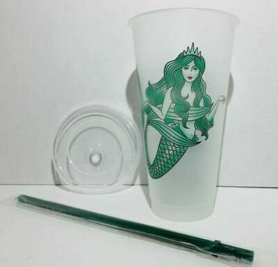 Starbucks RARE Siren Mermaid Reusable Venti Cold Cup Tumbler Frosted Lid & Straw