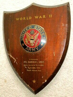 1944 US Army WW2 Memorial Plaque to PFC KIA North Africa...Painted Enamel, Wood