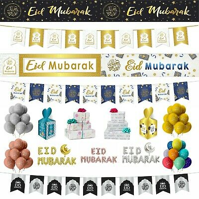 Eid Mubarak Party Decorations Banner Balloons Flags Bunting Cards Gift Set 2019