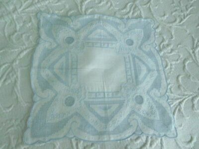 SO INTRICATE* Antique NET LACE * DRAWNWORK * EMBROIDERY *Pale BLUE BRIDAL HANKY