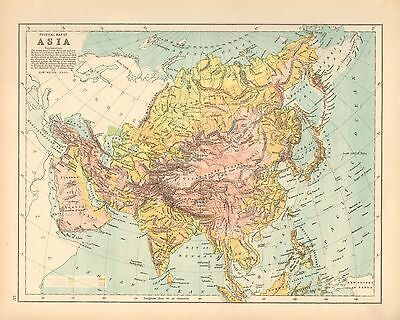 c1900 VICTORIAN MAP ~ PHYSICAL MAP OF ASIA ~ HEIGHTS & DEPTHS