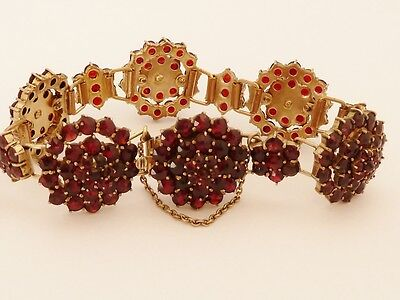 Pretty Antique Late Victorian Bohemian Garnet Bracelet - Hinged C.1890