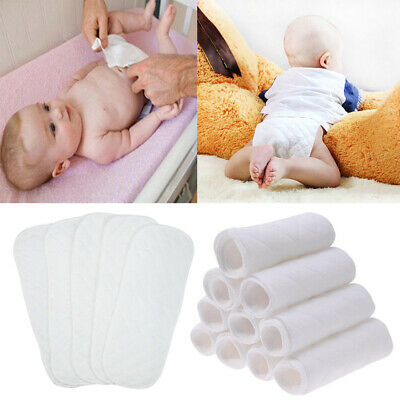 1/5/10Pc Baby Newborn Diapers Cotton Cloth Liner 3 Layers Reusable Nappy 32*12cm