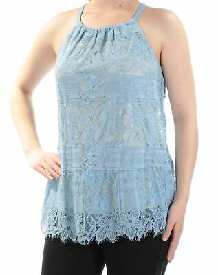 40cecd4d7a6 ALFANI $80 Womens New 1624 Blue Lace Sleeveless Scoop Neck Casual Top 4 B+B