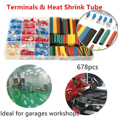 678Pcs Car Wire Electrical Set 350 Wire Terminal Connectors 328 Heat Shrink Tube