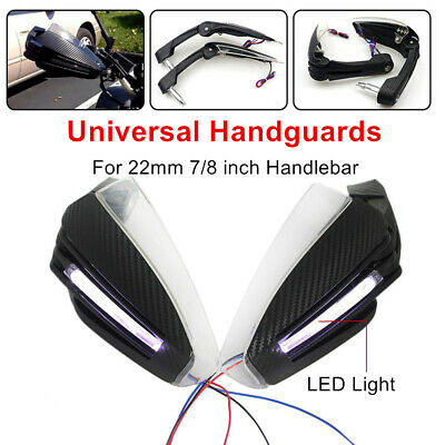 22MM LED Motorcycle Signal Light Handlebar Hand Guard Protector Wind Cold Shield