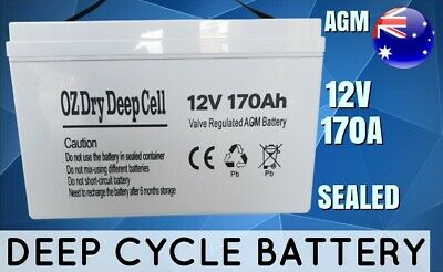 New 170A Agm 12V Deep Cycle Dry Battery Sealed Portable Power Dual Boat Fridge
