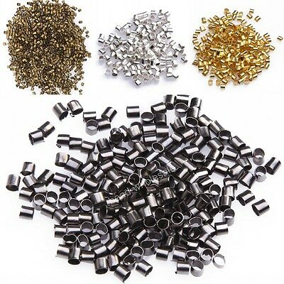 500/1000pcs Silver/Gold/Black/Bronze Tube Crimp End Beads For Jewelry 1.5/ 2mm !
