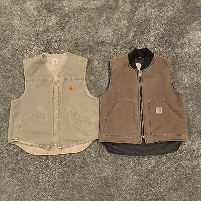 Lot Of 2 Vintage Carhartt Vests Fleece Lined Size Large Made In USA