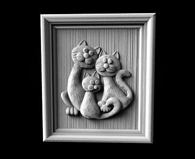 "3d stl Model for CNC Router Machine Artcam Vectric Aspire "" Cats Family """