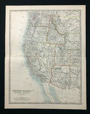 1893 Antique Victorian Atlas Map UNITED STATES, WESTERN REGION Handy Royal Atlas