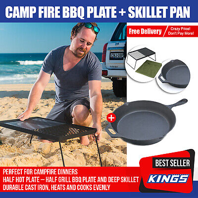 Camp Fire BBQ Plate w/ Skillet Pan Cooking Camping Hotplate Kings
