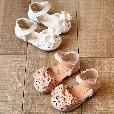 Toddler Infant Kids Baby Girls Elegant Hollow Bow Flower Princess Shoes Sandals
