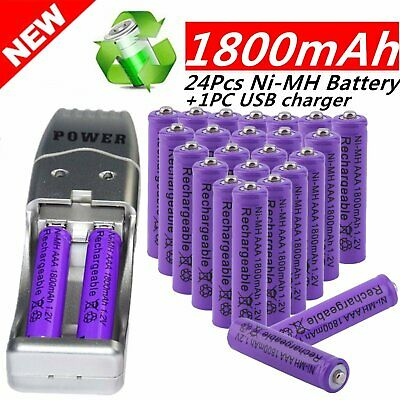 24 Pack AA + AAA 1800mAh Rechargeable Battery Cell 1.2V Ni-MH Purple USB Charger