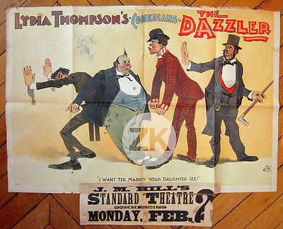 LYDIA THOMPSON Queen of Burlesque British Blondes THE DAZZLER Affiche 1890s