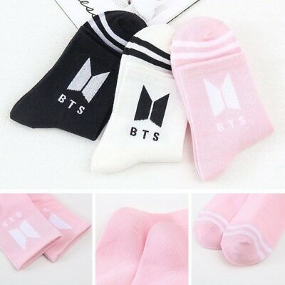 1pair Kpop BTS Bangtan Boys Logo Medium Socks Cotton Sock Boys Girls UK Stock