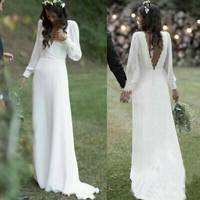Chiffon A Line Beach Wedding Dress Long Sleeves V Neck Backless Boho Bridal Gown