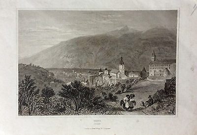 SWITZERLAND View of town of Chur or Coire c1830 Original antique engraved print