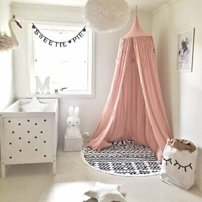Kids Bed Canopy Mosquito Net Dome Single Door Cotton Hanging Bed Curtain Tent N8
