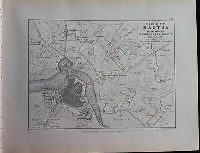 Map, Battle Plan MANTUA c1796 FRENCH/AUSTRIAN War, Engraved A K Johnston, Hcol