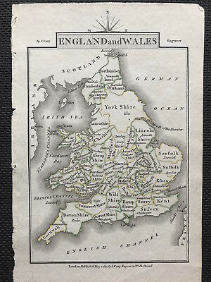 c1810 Map of ENGLAND & WALES John Cary, original engraved, outline color