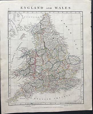 Antique Map ENGLAND & WALES c1828 by A. Arrowsmith original outline colour
