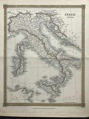 Antique Map of ITALY c1834 by Thomas Kelly original engraved outline color