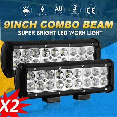 Pair 9 inch 180W CREE LED Light Bar Spot Flood Work Driving Lamp Offroad 4WD 12V