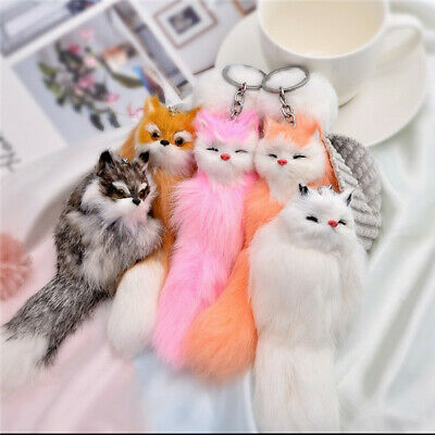 1PC Cute Plush Small Fox Fake Fur Fluffy Ball Key Chain Bag Key Rings girl Gifts