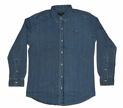 Mens Polo Ralph Lauren Denim Slim Fit Long Sleeve Shirts -