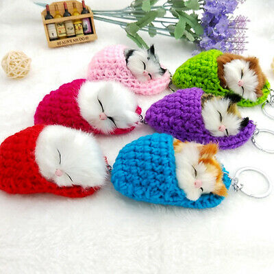 1 Pcs Cute Sleeping Cat Keychains Fur Kitten Key Chains Fluffy Car Key Rings